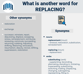 replacing, synonym replacing, another word for replacing, words like replacing, thesaurus replacing