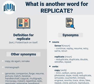 replicate, synonym replicate, another word for replicate, words like replicate, thesaurus replicate
