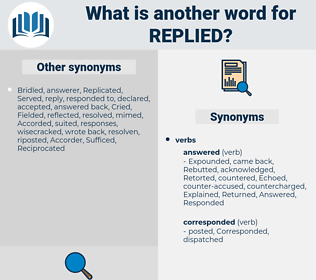 Replied, synonym Replied, another word for Replied, words like Replied, thesaurus Replied