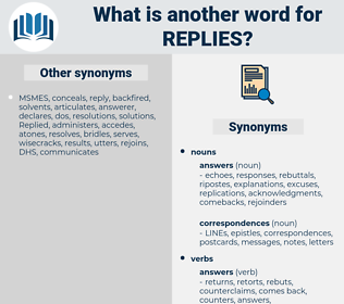 Replies, synonym Replies, another word for Replies, words like Replies, thesaurus Replies