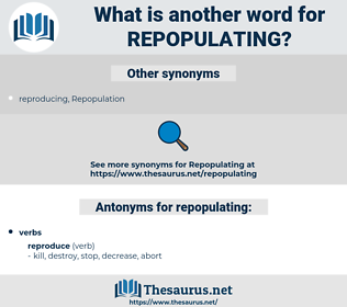 repopulating, synonym repopulating, another word for repopulating, words like repopulating, thesaurus repopulating