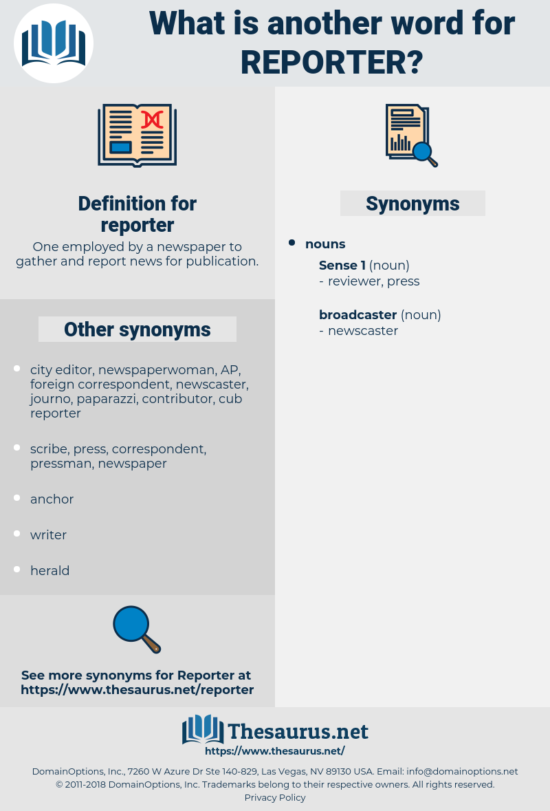 reporter, synonym reporter, another word for reporter, words like reporter, thesaurus reporter