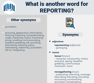 reporting, synonym reporting, another word for reporting, words like reporting, thesaurus reporting
