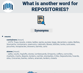 repositories, synonym repositories, another word for repositories, words like repositories, thesaurus repositories