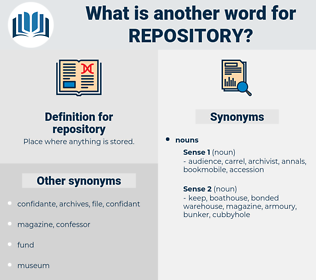 repository, synonym repository, another word for repository, words like repository, thesaurus repository
