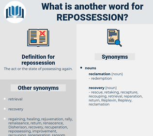 repossession, synonym repossession, another word for repossession, words like repossession, thesaurus repossession
