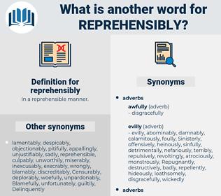reprehensibly, synonym reprehensibly, another word for reprehensibly, words like reprehensibly, thesaurus reprehensibly