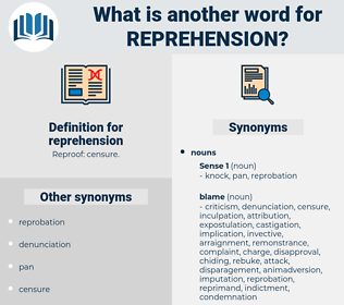 reprehension, synonym reprehension, another word for reprehension, words like reprehension, thesaurus reprehension