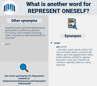 represent oneself, synonym represent oneself, another word for represent oneself, words like represent oneself, thesaurus represent oneself