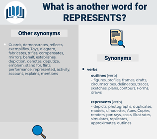represents, synonym represents, another word for represents, words like represents, thesaurus represents