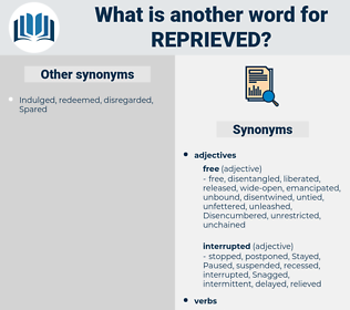 Reprieved, synonym Reprieved, another word for Reprieved, words like Reprieved, thesaurus Reprieved