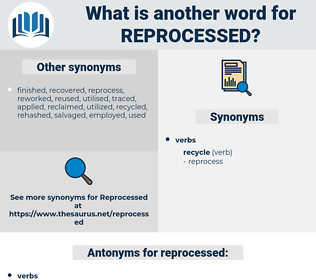 reprocessed, synonym reprocessed, another word for reprocessed, words like reprocessed, thesaurus reprocessed