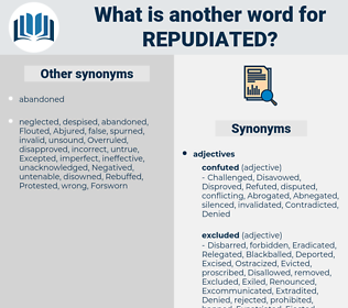 repudiated, synonym repudiated, another word for repudiated, words like repudiated, thesaurus repudiated