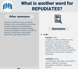 repudiates, synonym repudiates, another word for repudiates, words like repudiates, thesaurus repudiates