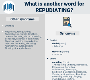 Repudiating, synonym Repudiating, another word for Repudiating, words like Repudiating, thesaurus Repudiating