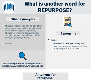repurpose, synonym repurpose, another word for repurpose, words like repurpose, thesaurus repurpose
