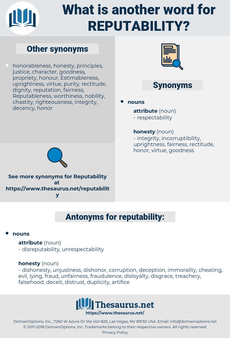 reputability, synonym reputability, another word for reputability, words like reputability, thesaurus reputability