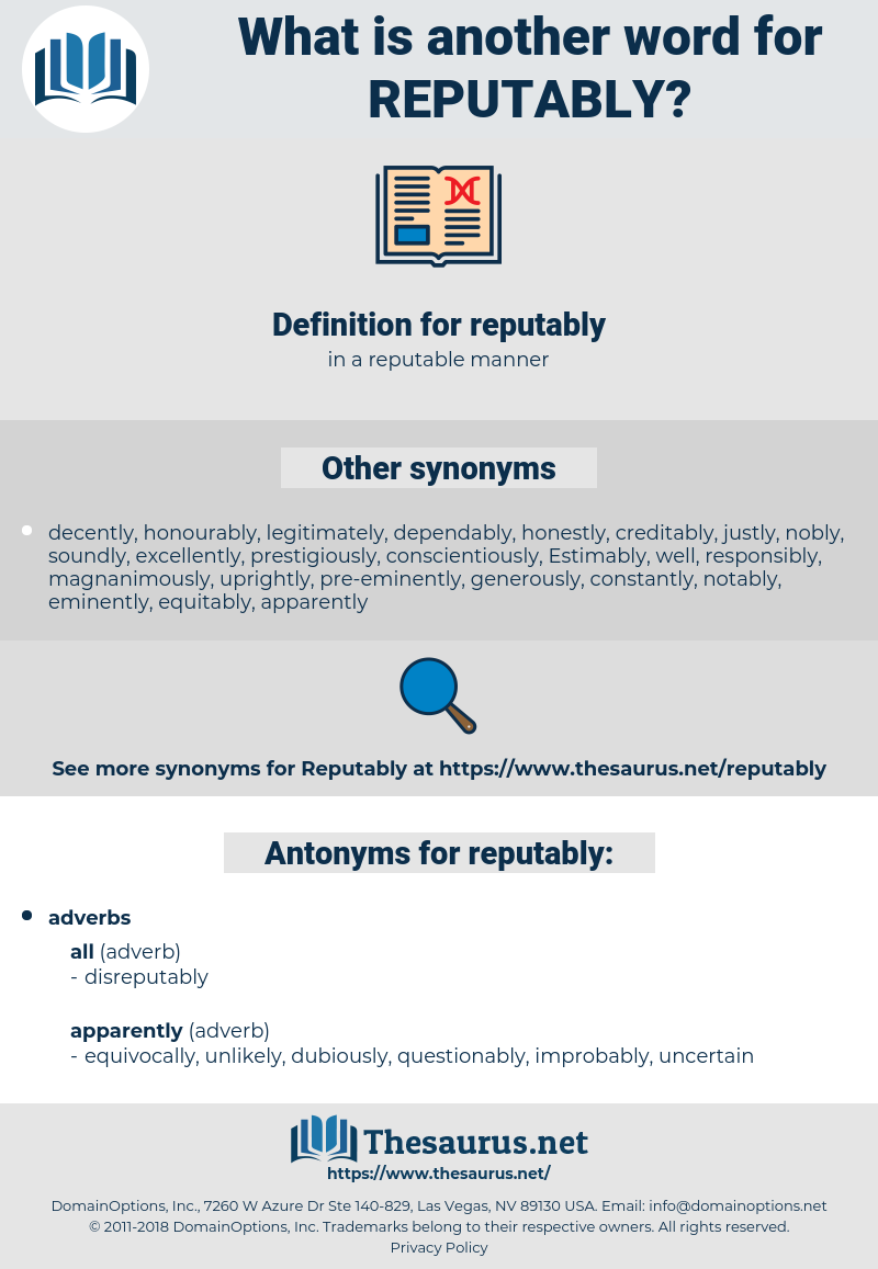 reputably, synonym reputably, another word for reputably, words like reputably, thesaurus reputably
