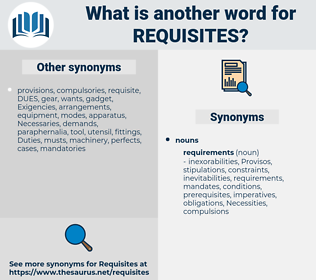 requisites, synonym requisites, another word for requisites, words like requisites, thesaurus requisites