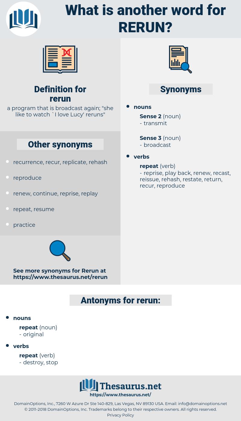 rerun, synonym rerun, another word for rerun, words like rerun, thesaurus rerun