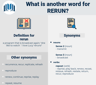 rerun, synonym rerun, another word for rerun, words like rerun, thesaurus rerun