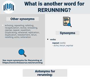 rerunning, synonym rerunning, another word for rerunning, words like rerunning, thesaurus rerunning