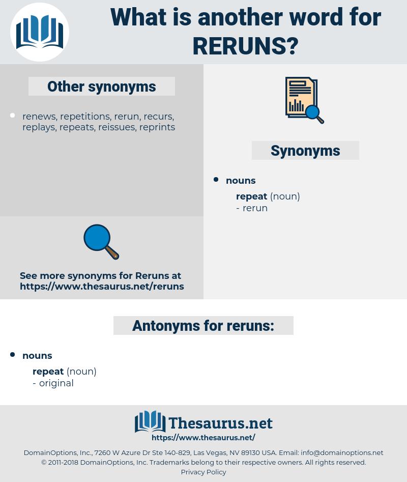 reruns, synonym reruns, another word for reruns, words like reruns, thesaurus reruns