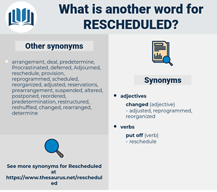 rescheduled, synonym rescheduled, another word for rescheduled, words like rescheduled, thesaurus rescheduled