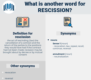 rescission, synonym rescission, another word for rescission, words like rescission, thesaurus rescission