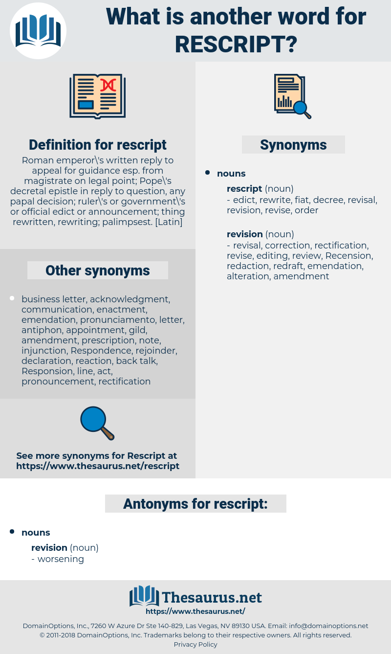 rescript, synonym rescript, another word for rescript, words like rescript, thesaurus rescript