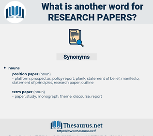research papers, synonym research papers, another word for research papers, words like research papers, thesaurus research papers