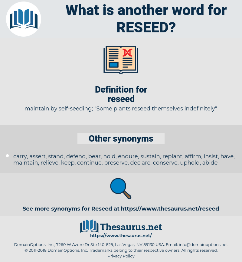 reseed, synonym reseed, another word for reseed, words like reseed, thesaurus reseed