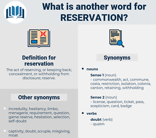 reservation, synonym reservation, another word for reservation, words like reservation, thesaurus reservation