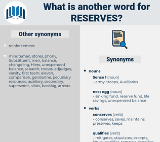reserves, synonym reserves, another word for reserves, words like reserves, thesaurus reserves