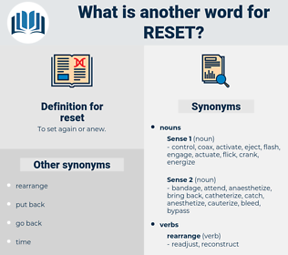 reset, synonym reset, another word for reset, words like reset, thesaurus reset