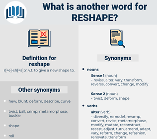 reshape, synonym reshape, another word for reshape, words like reshape, thesaurus reshape