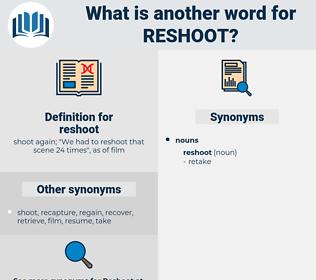 reshoot, synonym reshoot, another word for reshoot, words like reshoot, thesaurus reshoot