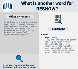 reshow, synonym reshow, another word for reshow, words like reshow, thesaurus reshow