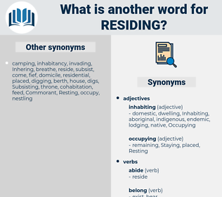 Residing, synonym Residing, another word for Residing, words like Residing, thesaurus Residing