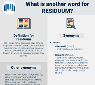 residuum, synonym residuum, another word for residuum, words like residuum, thesaurus residuum