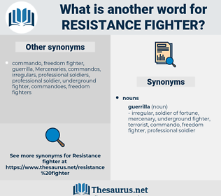 resistance fighter, synonym resistance fighter, another word for resistance fighter, words like resistance fighter, thesaurus resistance fighter