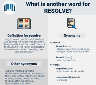 resolve, synonym resolve, another word for resolve, words like resolve, thesaurus resolve