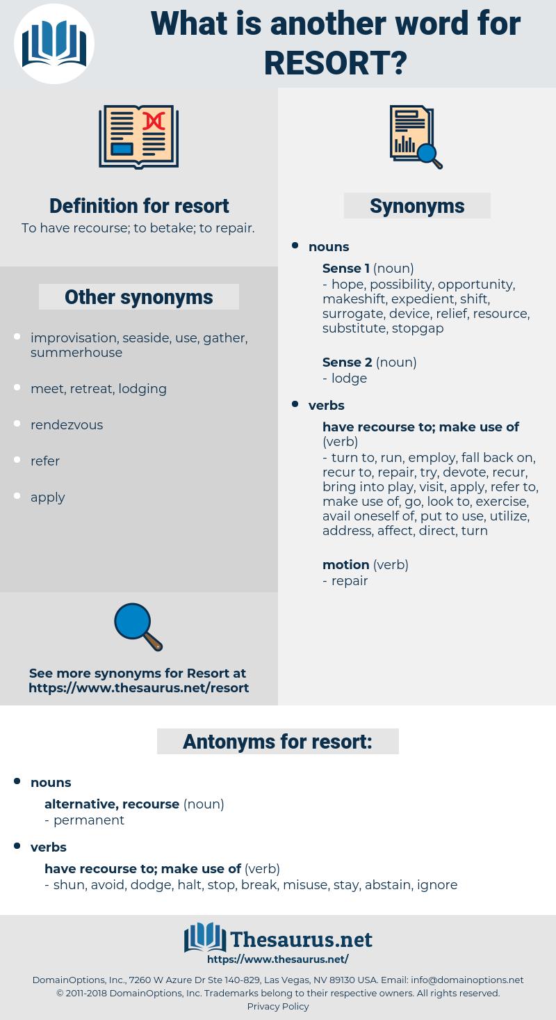 resort, synonym resort, another word for resort, words like resort, thesaurus resort