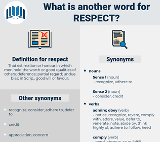 respect, synonym respect, another word for respect, words like respect, thesaurus respect