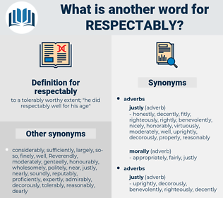 respectably, synonym respectably, another word for respectably, words like respectably, thesaurus respectably