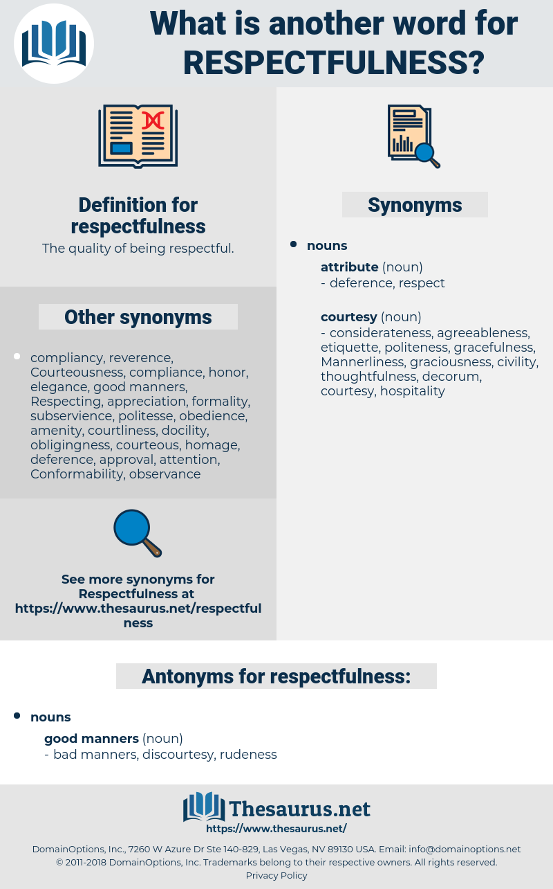 respectfulness, synonym respectfulness, another word for respectfulness, words like respectfulness, thesaurus respectfulness