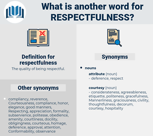 respectfulness, synonym respectfulness, another word for respectfulness, words like respectfulness, thesaurus respectfulness