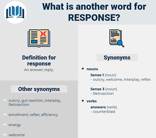 Synonyms for RESPONSE, Antonyms for RESPONSE - Thesaurus net