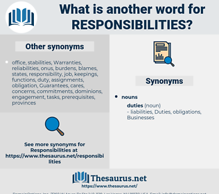 responsibilities, synonym responsibilities, another word for responsibilities, words like responsibilities, thesaurus responsibilities