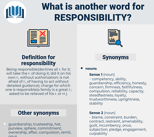 responsibility, synonym responsibility, another word for responsibility, words like responsibility, thesaurus responsibility
